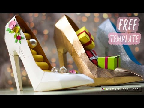 picture relating to High Heel Shoe Template Printable named Free of charge template: How toward deliver paper 3D large heel shoe - YouTube