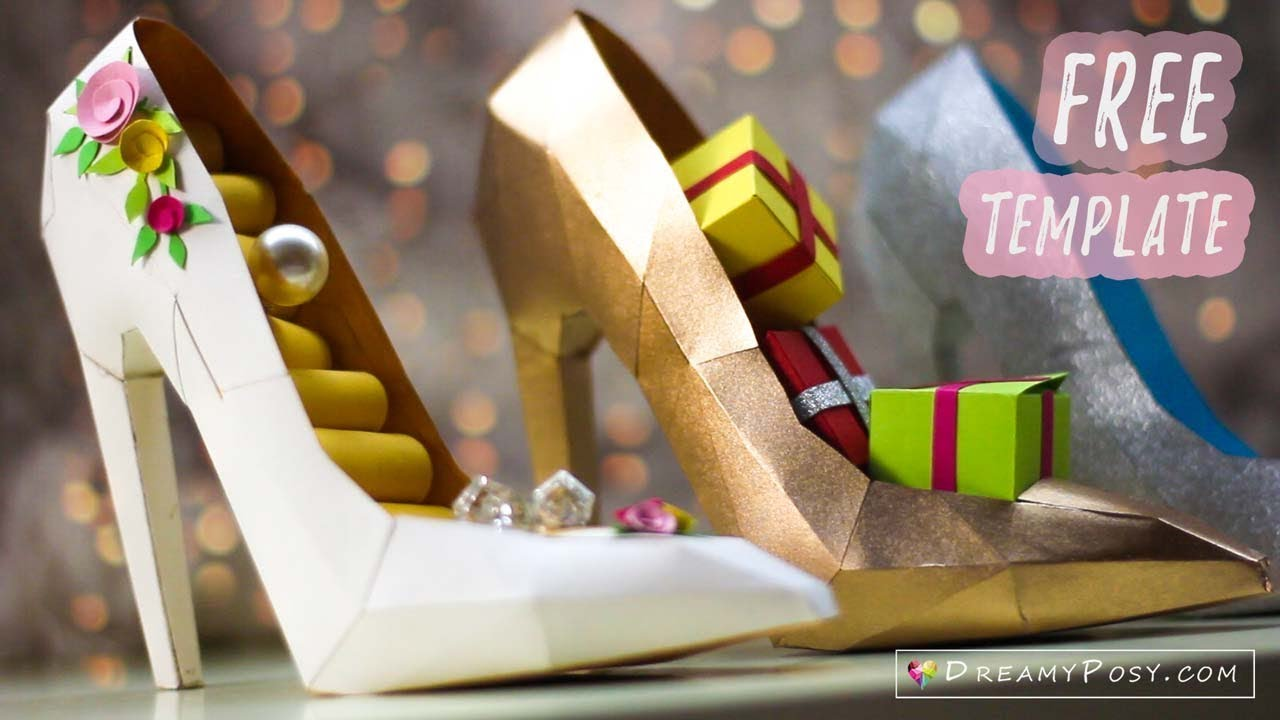 Free Template How To Make Paper 3D High Heel Shoe