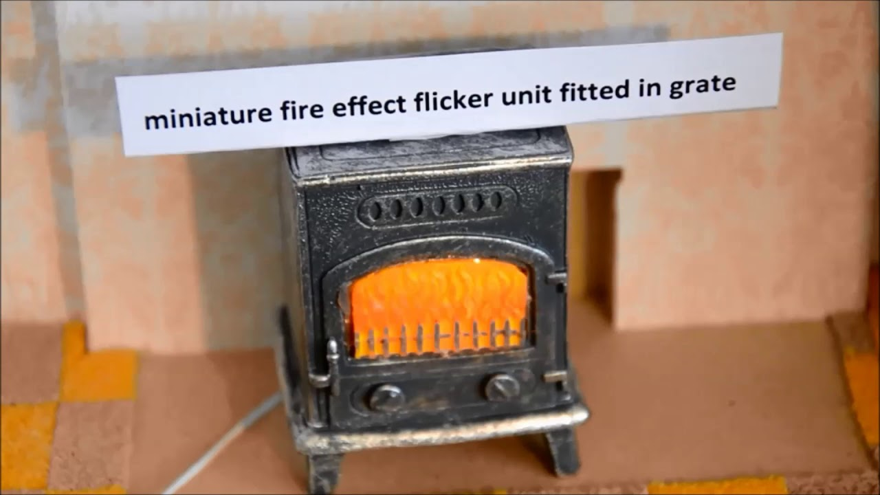 Dollhouse Miniature Flickering Lights Fireplace Set by Miniature House