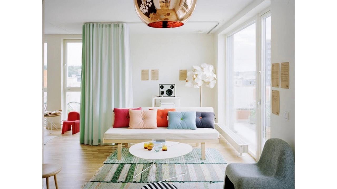 Diseño divisor de la sala de cortina