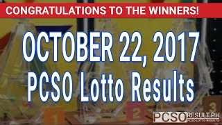 PCSO Lotto Results Today October 22, 2017 (6/58, 6/49, Swertres & EZ2)