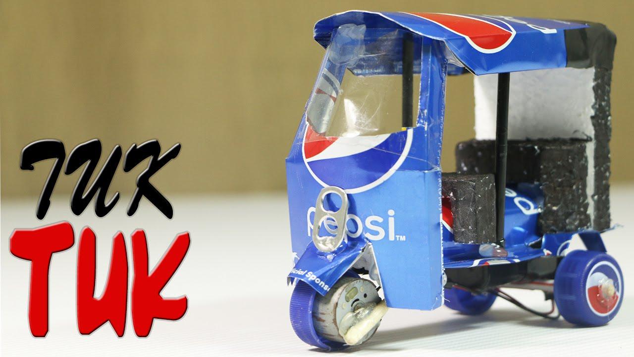 tuk cans electric pepsi rickshaw craft diy mini crafts soda homemade