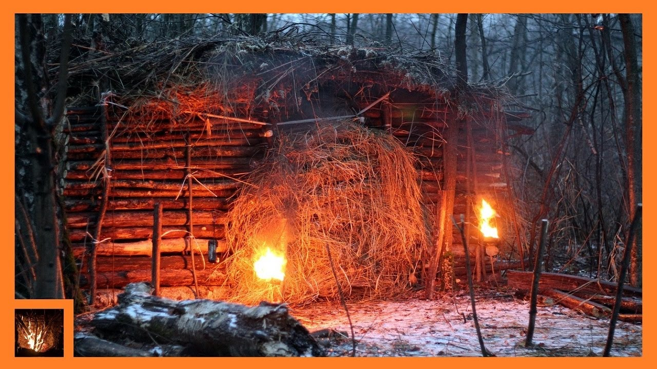 SOLO BUSHCRAFT CAMP, Overnight, Log Cabin Building in Forest, Bushcraft Trip