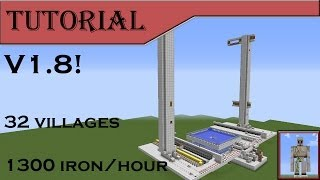 Iron Towers Tutorial (1.8, 1300 iron/hour, 32 village farm)