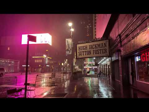 ⁴ᴷ⁶⁰ Heavy Rain at Night in New York City | RAIN WALK IN NYC at 2 A.M.
