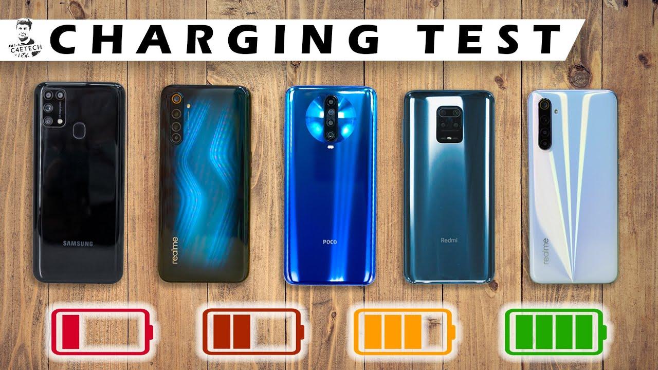 Battery Charge Test - Realme 6 vs POCO X2 / Redmi Note 9 Pro / Galaxy M31/ Realme 6 Pro