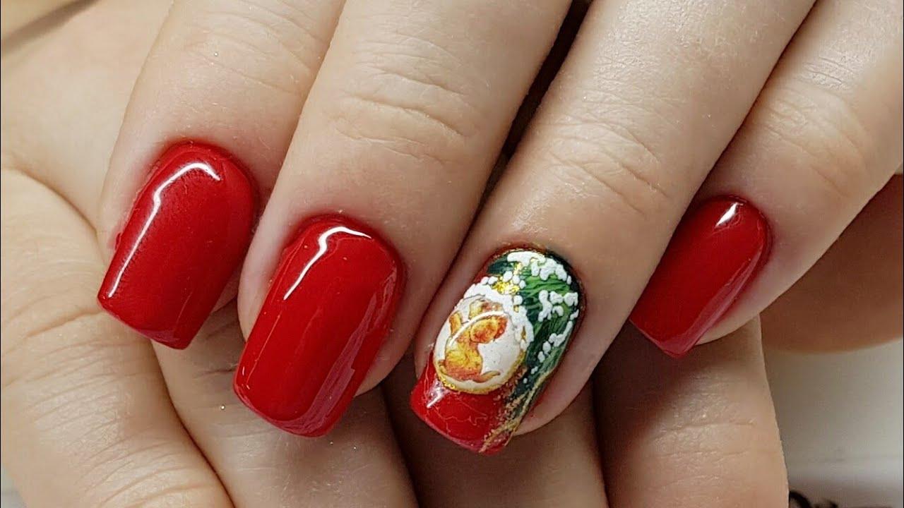 дизайн ногтей красный новогодний 2