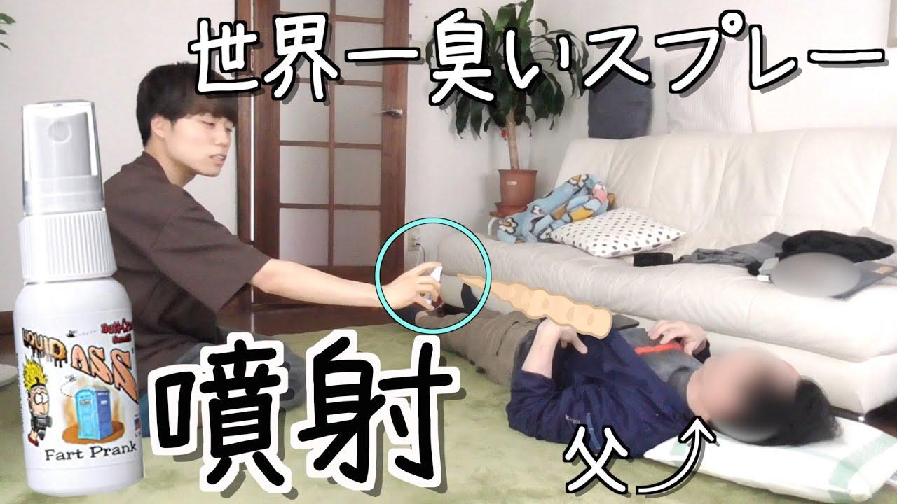 [実家暮らしの日常]寝てる父親の顔面に世界一臭いスプレーかけてみたww  [ドッキリ/モニタリング]