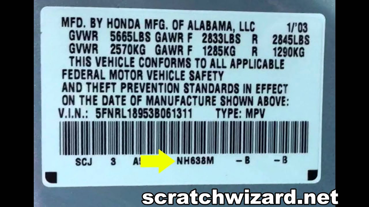 Honda Accord Paint Code Location