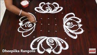 varalakshmi vratham lotus muggulu with 9 dots l easy rangoli l new kolam for friday