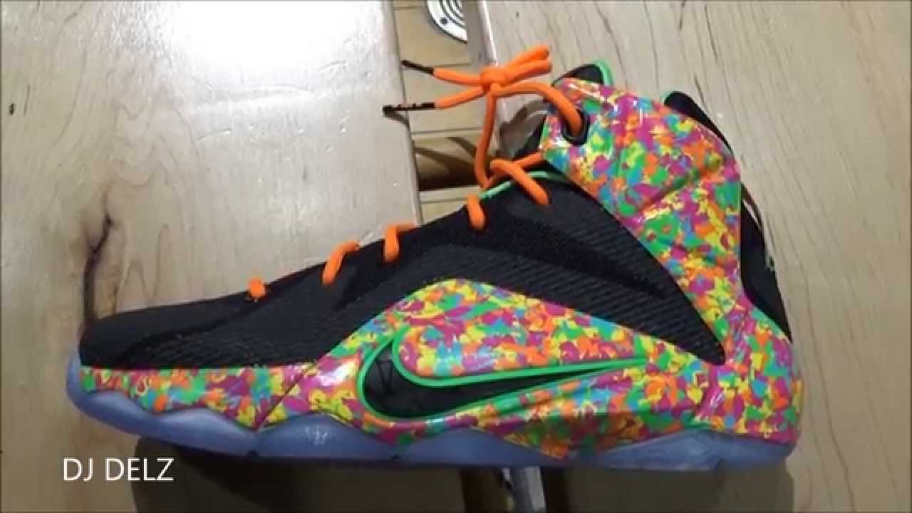 2ee794171267 Nike Lebron 12 Fruity Pebbles Sneaker - YouTube
