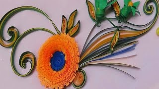 Quilling | Made Easy # How to make Beautiful Orange Flower using Paper -Quilling Card