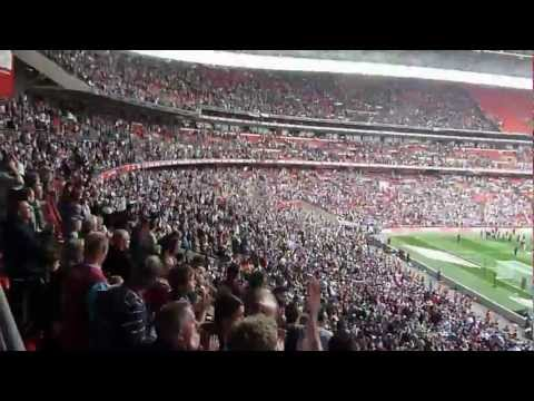 west ham fan's songing Hi Ho Siver Lining after winning playoff final