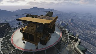 GTA 5 online - driving off highest building with dump truck