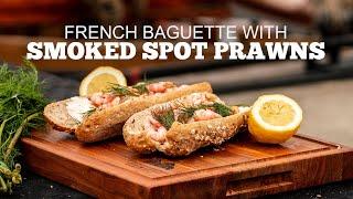 Smoked Spot Prawn Sandwich on a French Baguette