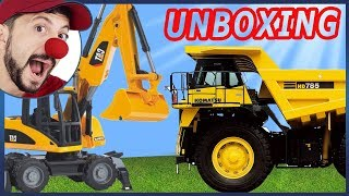 Funny Clown Bob Construction vehicles Excavator Dump Truck Unboxing in Funny Video for kids