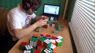 Solving 50 Rubik's Cubes blindfolded