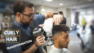 Curly Mens Haircut Transformation | New York Barbers