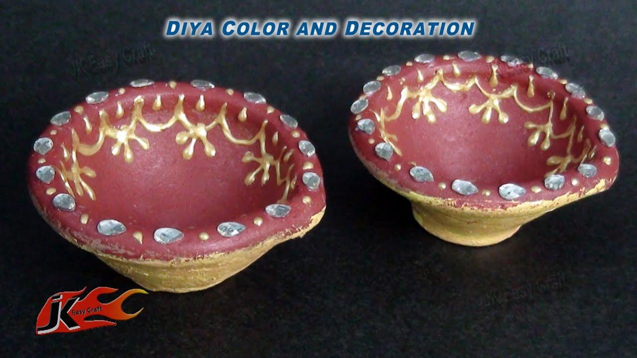 DIY How to Decorate Diwali Diya | Easy Diwali Home Decoration Ideas ... for Diya Decoration Using Glitters  45hul