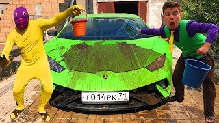 Yellow Man smeared with Dirt Car VS Mr. Joe on Dirty Lamborghini Huracan in CAR WASH