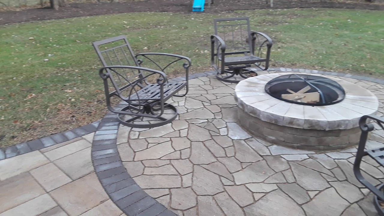 belgard paver patio design with firepit