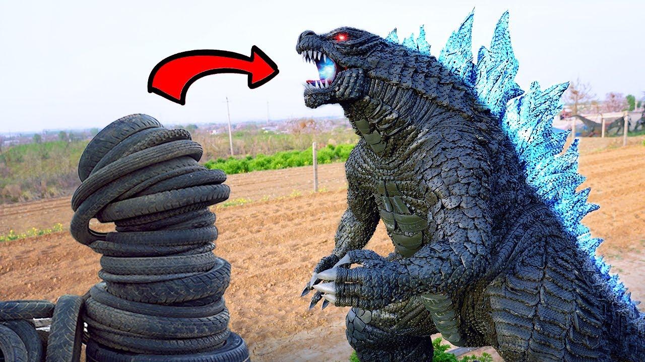 Use 30 days to turn waste tire into the king of monsters: Godzilla丨Godzilla vs. Kong丨Tire Sculpture