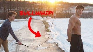 BODYBUILDER VS BULLWHIP | Insane Bullwhip Challenge Gone Right | Slow Motion Bullwhip