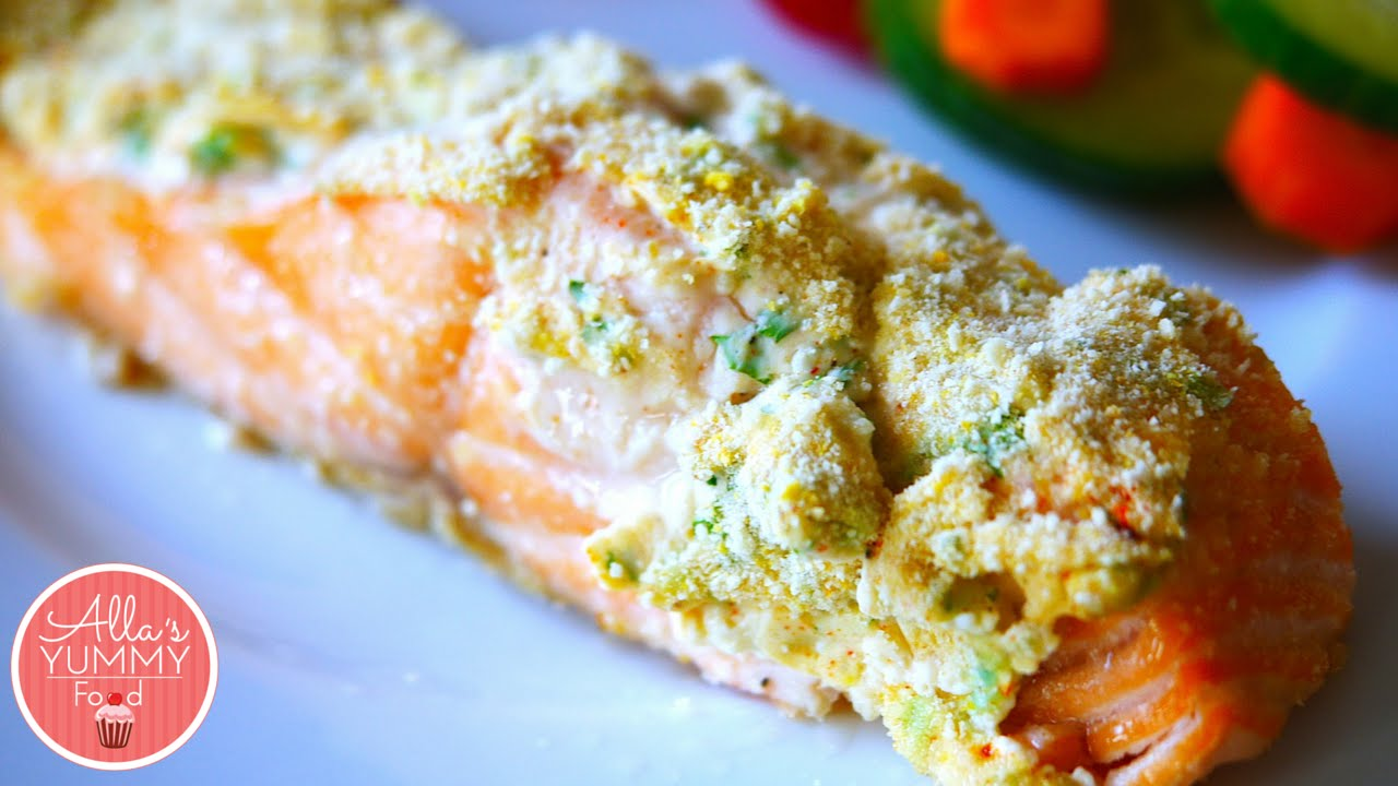 Baked Salmon Recipe With Cream Cheese Zapechennyy Losos Pod Slivochnym Sousom Youtube