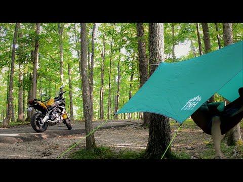 Solo Overnight Motorcycle Camping - Hammock, Bushcraft, Fire, Kawasaki Versys 650