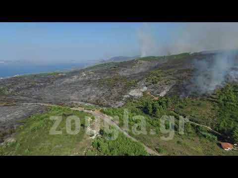 Εικόνες καταστροφής μετά την πυρκαγιά στον Κάλαμο από το drone του zougla.gr 1