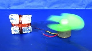 How to make free energy electricity - Using DC motor generator with fan 2018