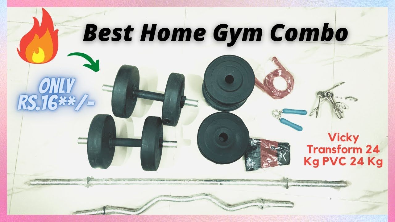 Vicky Transform 24 Kg PVC 24 Kg Curl And Straight Rod Combo Home Gym Combo   Best Gym Equipment 🔥🔥