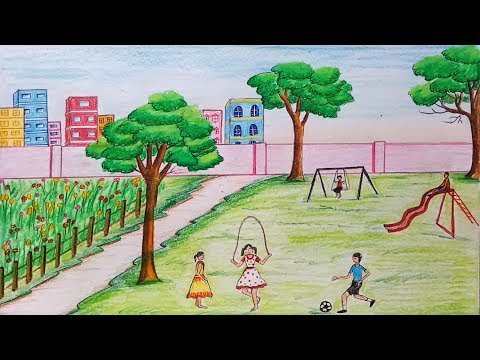 How to draw  scenery of Children's play step by step