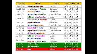 World Cup 2019 Schedule & Time Table (Cricket)