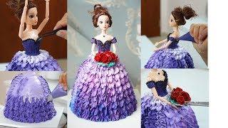 Cách trang trí tạo hình bánh sinh nhật búp bê Barbie với đuôi 124k và 126k
