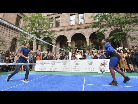 Rafael Nadal And Serena Williams Play Badminton - US Open 2018