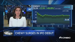 Pet food company Chewy soars in first day of trading