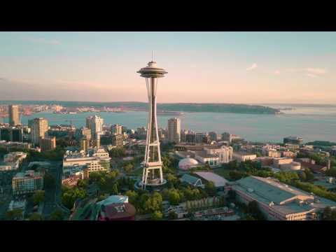 Afternoon Above Seattle - 4K Aerial Drone View