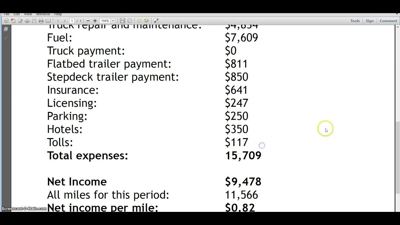 Owner Operator S Pay January 2014 Youtube