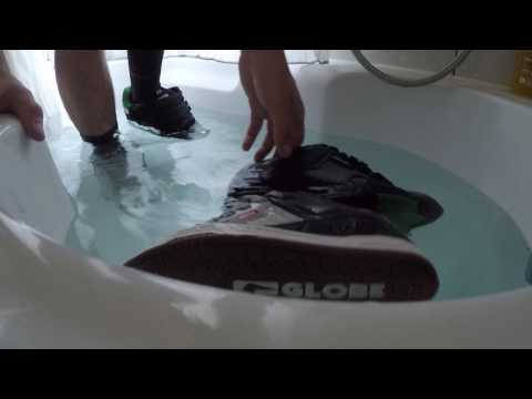 Globe skate shoes in the bath