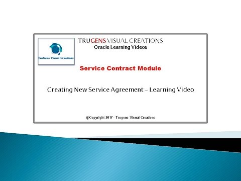 OKS Service Agreement Creation using Oracle Service Contract Module