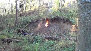 Мощный взрыв советского снаряда 120 мм времен великой отечественной войны.