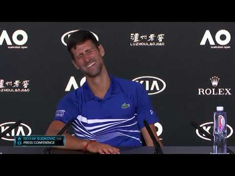 Novak Djokovic jokes with Italian reporter at Australian Open conference (Not too bad) HD
