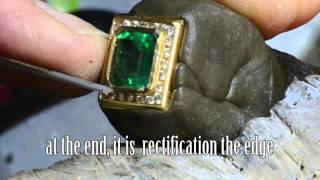 Embed a gem in the gold bezel setting