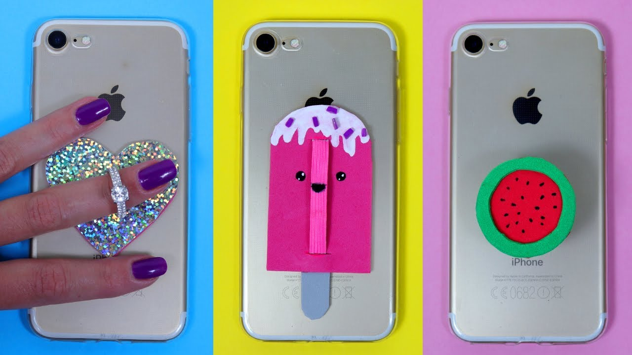 reputable site 80979 bf449 DIY PHONE POPSOCKETS! Easy Phone Case Decorations / DIY PHONE GRIPS