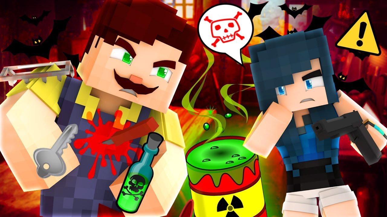 HELLO NEIGHBOR - KILLING THE CREEPY NEIGHBOR! (Minecraft
