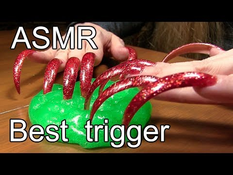 ASMR trigger best asmr tingles long nails tapping slime Satisfying video
