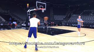 Steph Curry and Kevin Durant shooting after Golden State Warriors (5-3) practice, day before Spurs