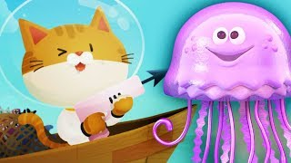 The Fishercat ЛОВИСЬ РЫБКА и БОЛЬШАЯ и маленькая! Мультик игра для детей КОТИК ПОДВОДНЫЙ ОХОТНИК