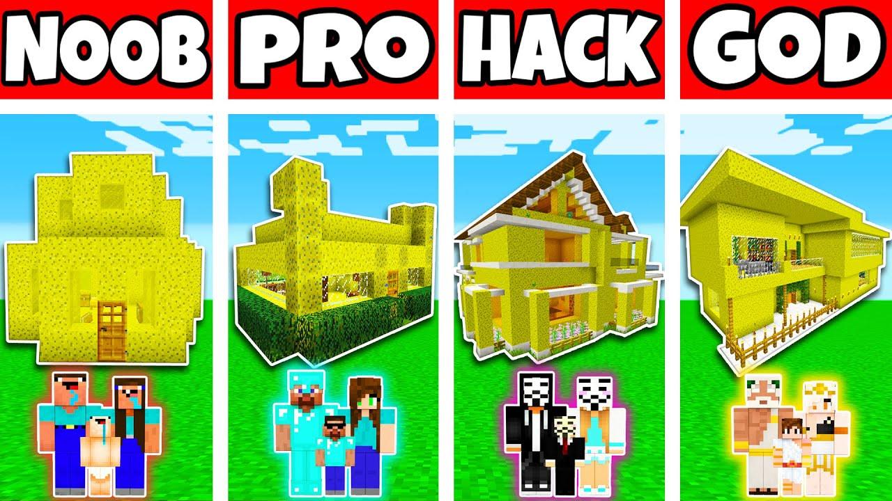 Minecraft  Family Sponge House Build Challenge - Noob Vs Pro Vs Hacker Vs God In Minecraft